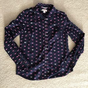 Whale blouse/ navy, pink, white/ m